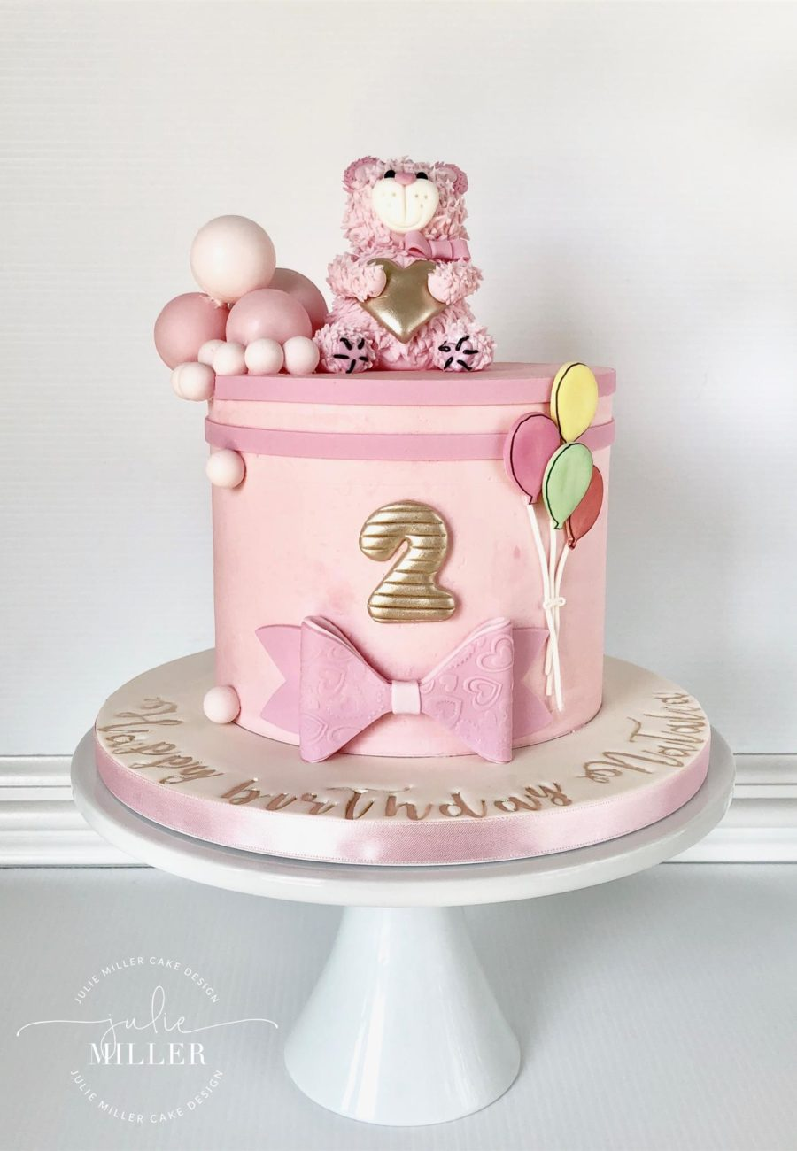 Pink teddy bear and sphere cake 08_04_18